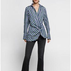 COPY - NWT Zara plaid knot shirt